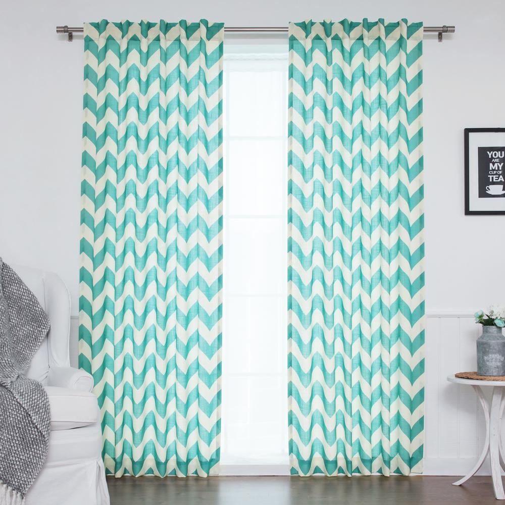96 in. L Blue Faux Linen Chevron Curtain (2-Pack)