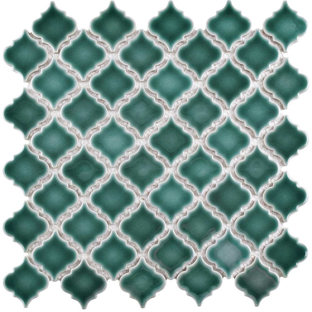Merola Tile Hudson Tangier Emerald 12-3/8 in. x 12-1/2 in. x 5 mm Porcelain Mosaic Tile