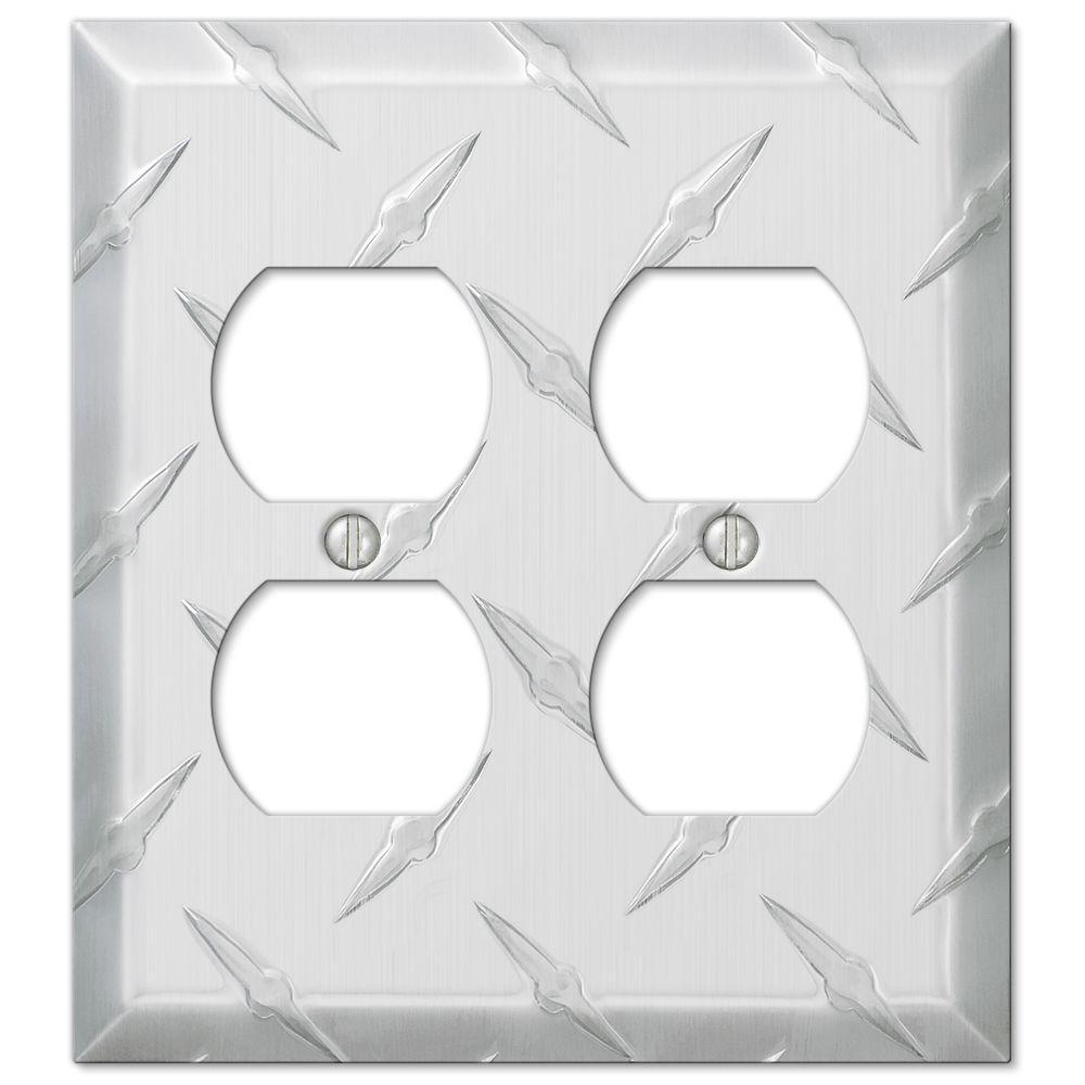 Diamond Plate 2 Gang Duplex Aluminum Wall Plate - Aluminum