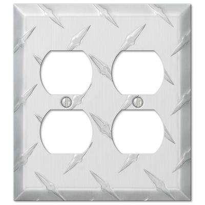 Garage Diamond Cut 2 Duplex Wall Plate - Chrome