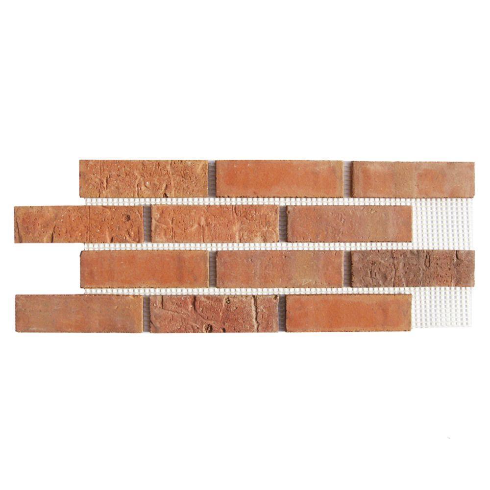 Brickweb Cordova 8.7 sq. ft. 28 in. x 10-1/2 in. x 1/2 in. Clay Thin Brick Flats (Box of 5)