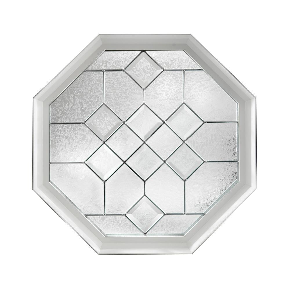 Hy-Lite 23.25 in. x 23.25 in. Decorative Glass Fixed Octagon Geometric Vinyl Window in White