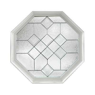 23.25 in. x 23.25 in. Decorative Glass Fixed Octagon Vinyl Window - White