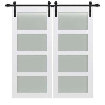 72 in. x 84 in. 4-Lite Frosted Glass Primed MDF Double Sliding Barn Door with Hardware Kit
