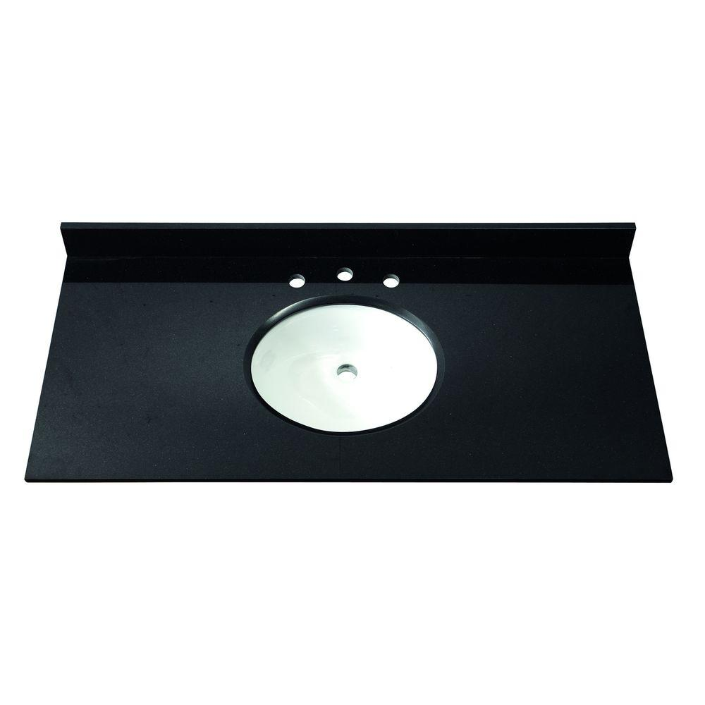 Avanity 49 in. Granite Stone Vanity Top in Black without Basin