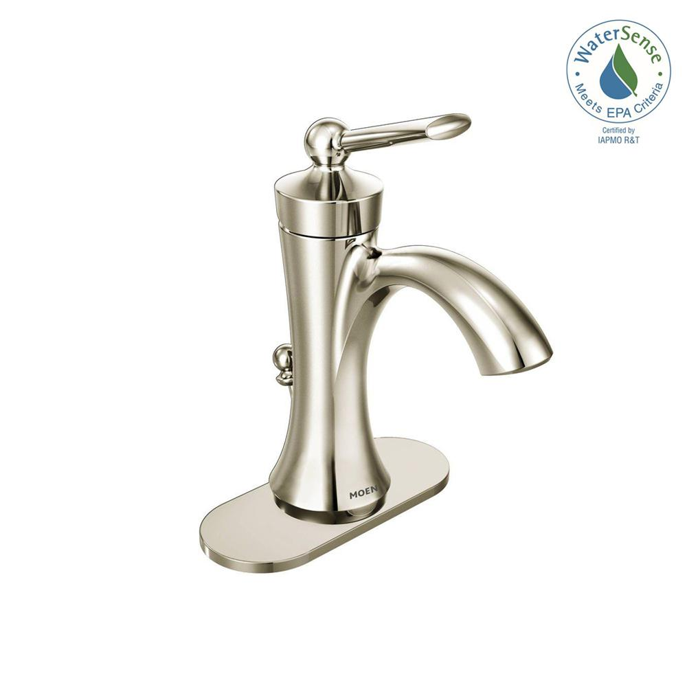 MOEN Wynford Single Hole Single-Handle High-Arc Bathroom Faucet in Polished Nickel