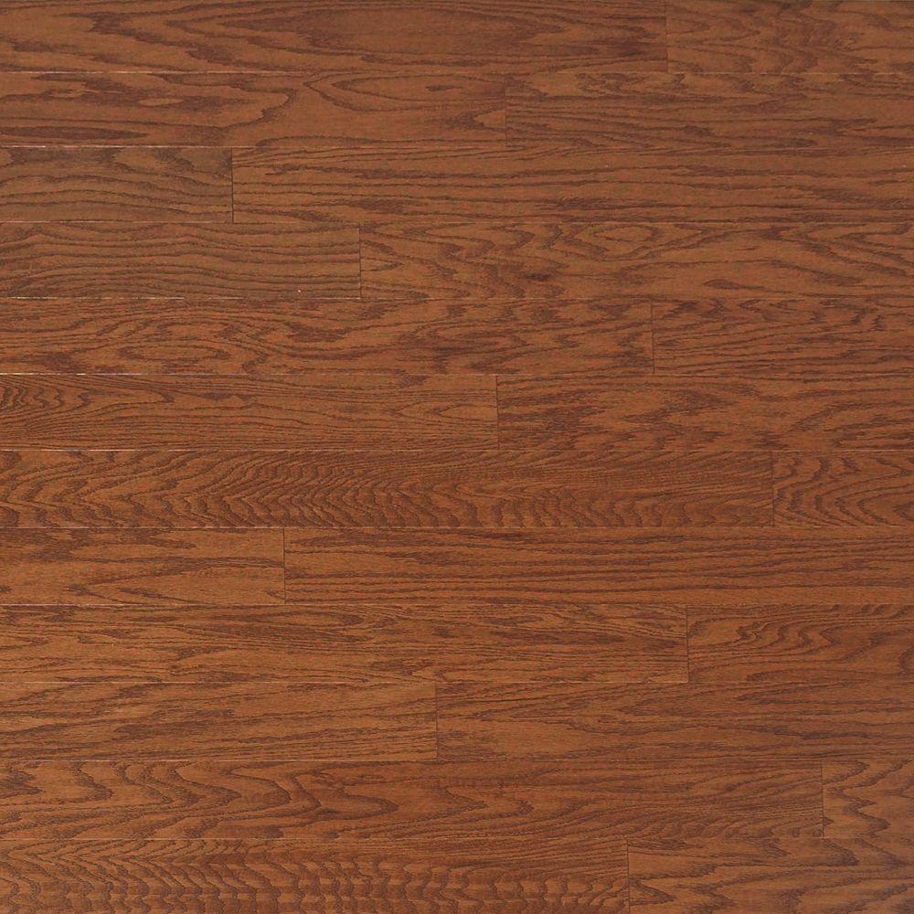 Heritage Mill Take Home Sample Scraped Oak Amaretto Engineered Click Hardwood Flooring 5 In. X 7 In., Brown