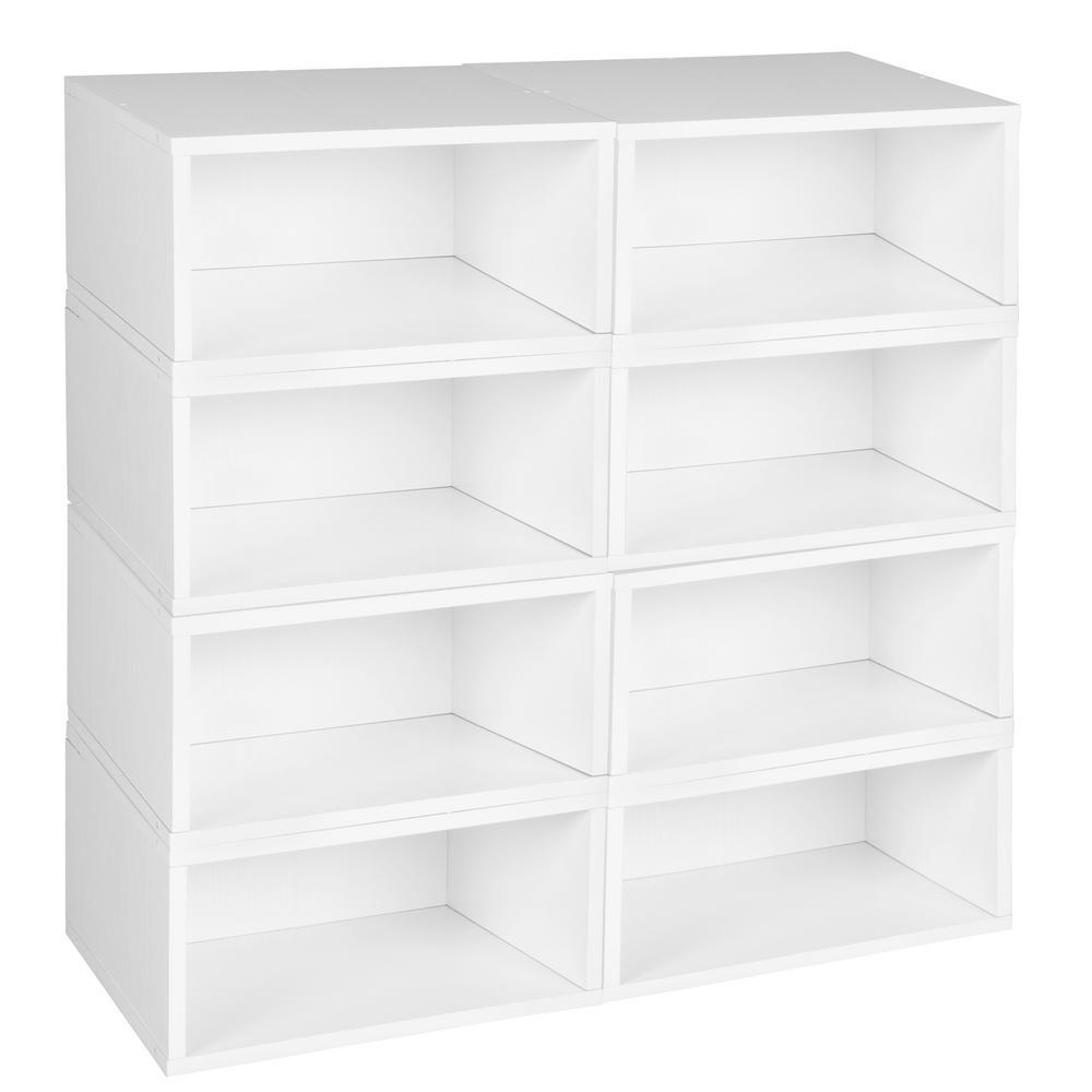52 in. H x 26 in. W x 13 in. D White Wood 8-Cube Storage Organizer