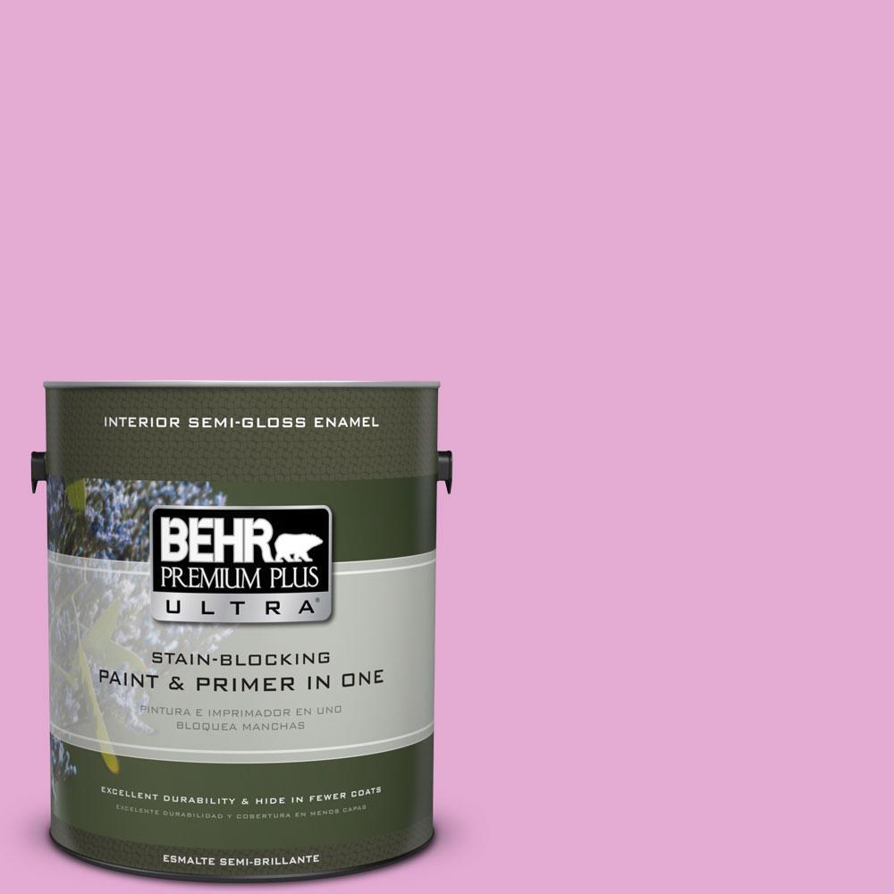 BEHR Premium Plus Ultra 1-gal. #680A-3 Pink Bliss Semi-Gloss Enamel Interior Paint