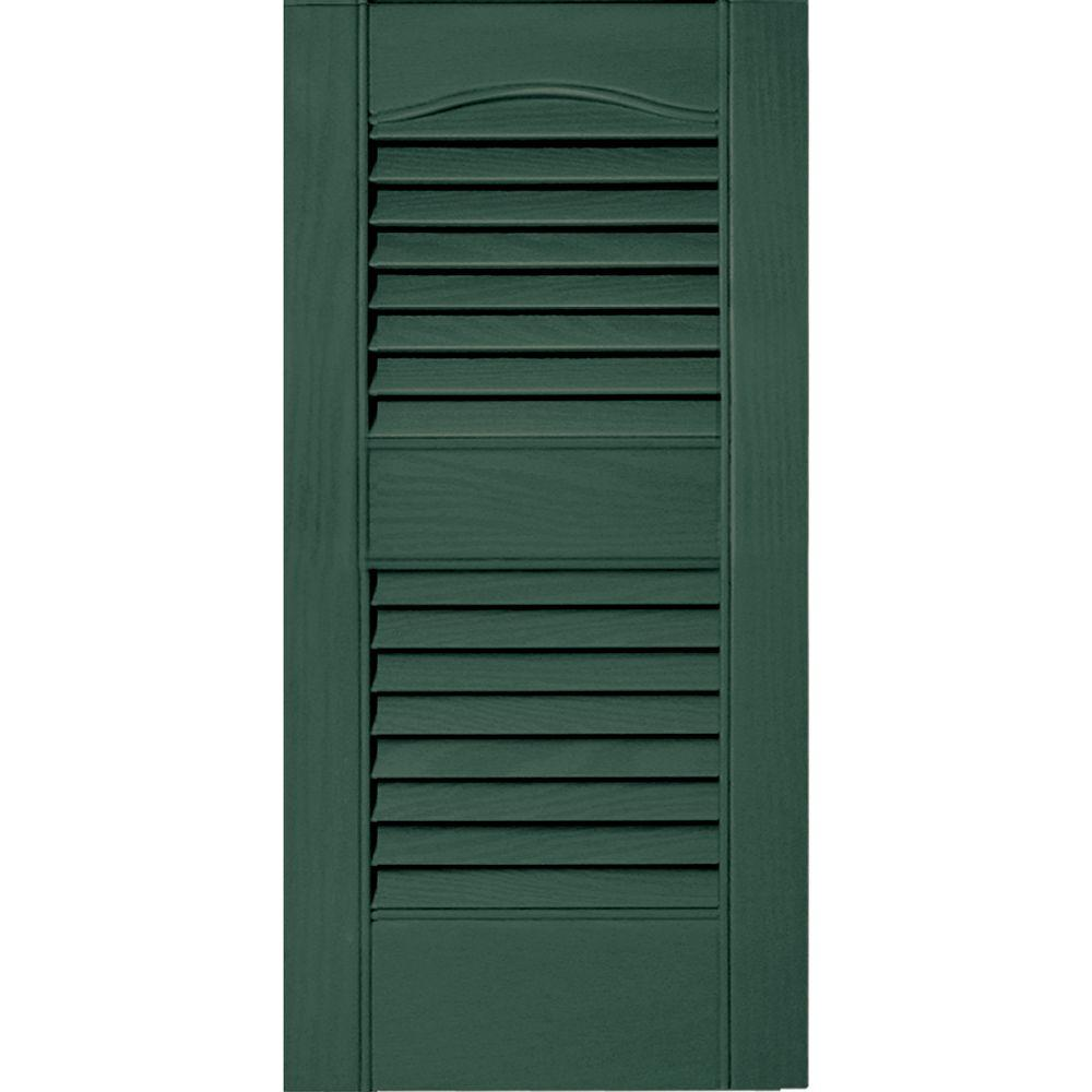 Builders Edge 12 in. x 25 in. Louvered Vinyl Exterior Shutters Pair #028 Forest Green