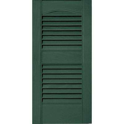 12 in. x 25 in. Louvered Vinyl Exterior Shutters Pair #028 Forest Green