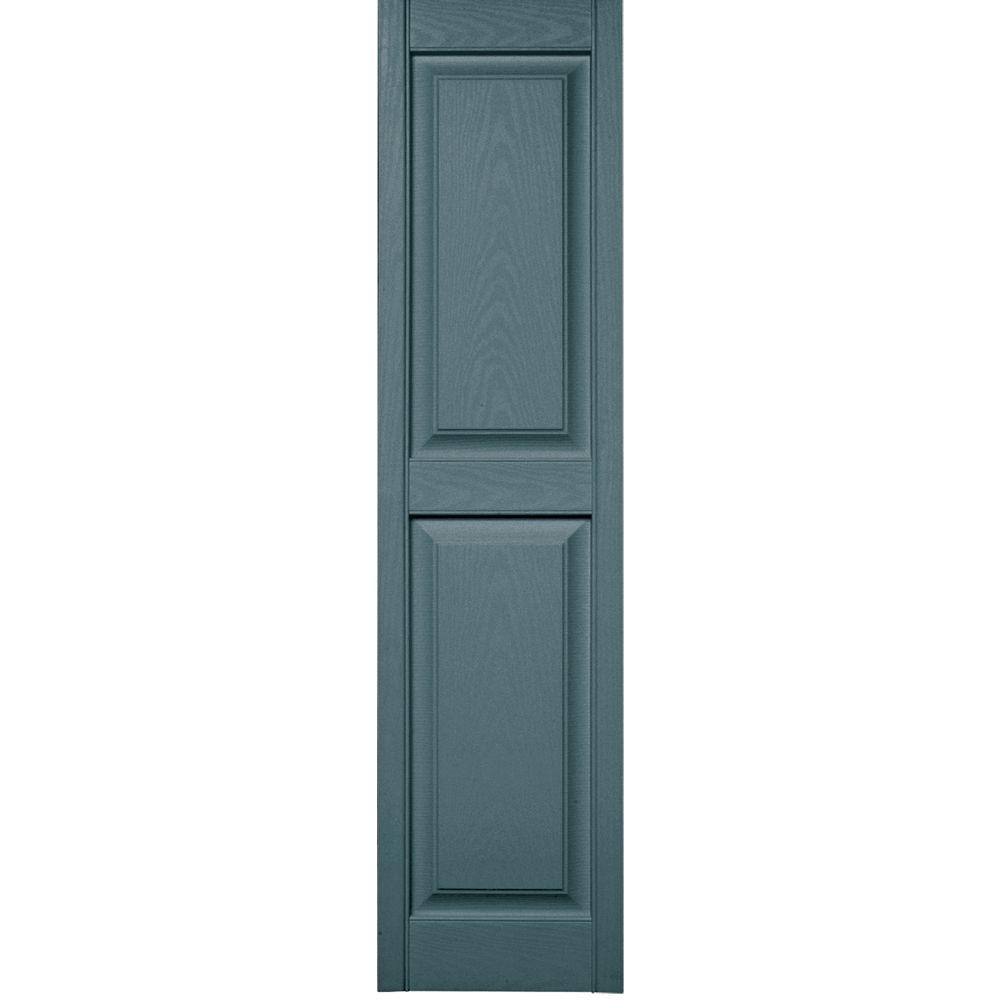 15 in. x 59 in. Raised Panel Vinyl Exterior Shutters Pair in #004 Wedgewood Blue