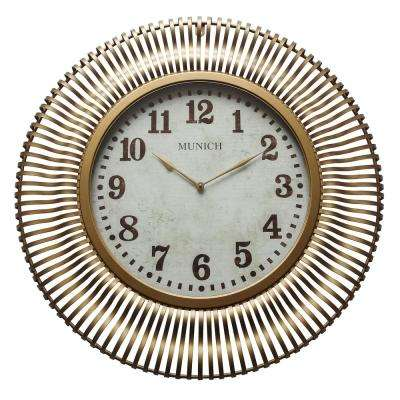 Munich Antique Gold Analog Wall Clock