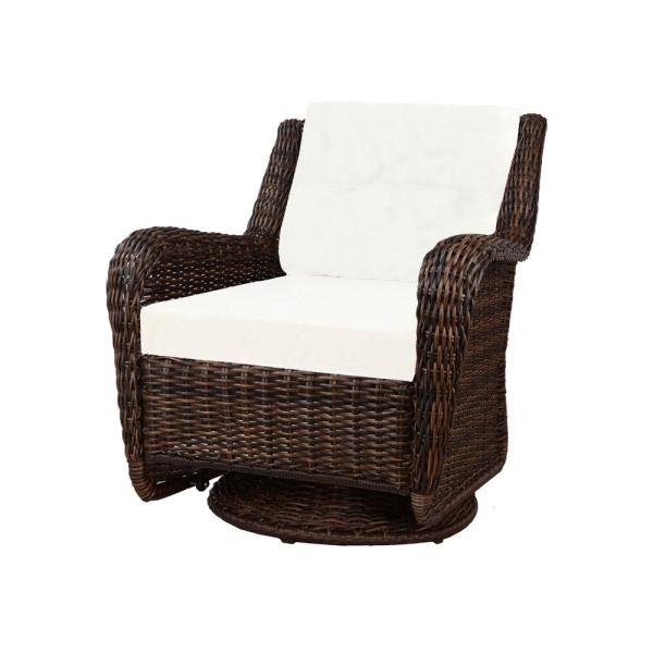 Hampton Bay Cambridge Brown Wicker Swivel Outdoor Rocking Chair with Cushions Included, Choose Your Own Color