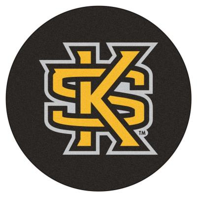 NCAA Kennesaw State University Black 2 ft. 3 in. x 2 ft. 3 in. Round Accent Rug