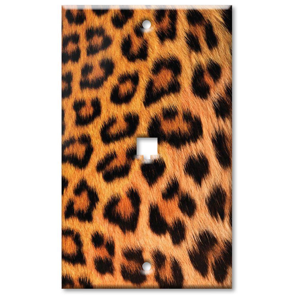 Art Plates Leopard Fur Print Phone Jack Wall Plate