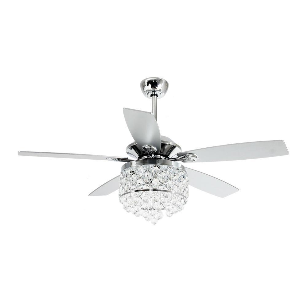 Home Crystal 5 Blades Ceiling Fan Chandelier Lighting Pendant Light Fixtures