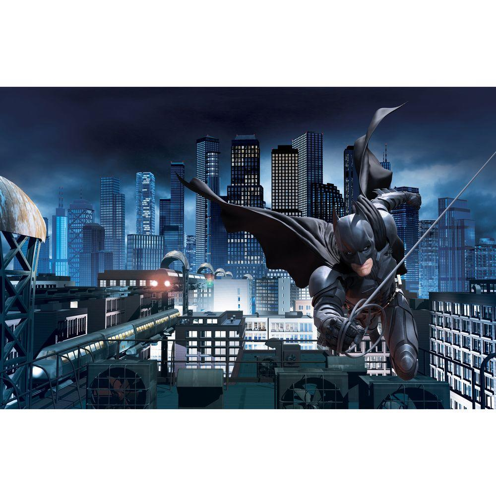 York Wallcoverings 6 ft. x 10.5 ft. Ultra-strippable Wallpaper Dark Knight Rises-Batman Prepasted Mural-DISCONTINUED