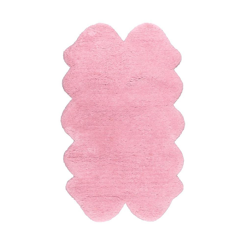 Quarto Faux Sheepskin Shag Pink 4 ft. x 6 ft.  Shaped Rug