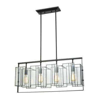 Stratus 4-Light Oil Rubbed Bronze Chandelier with Clear Glass Shade