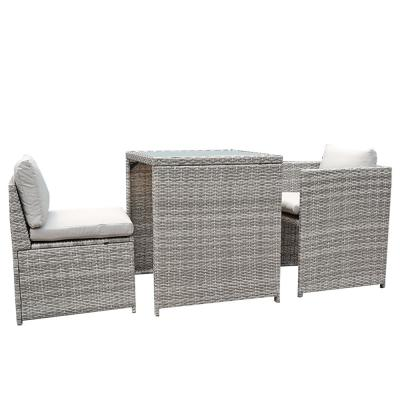 Orange Casual Black 3-Piece Wicker Outdoor Dining Set with Grey Cushion