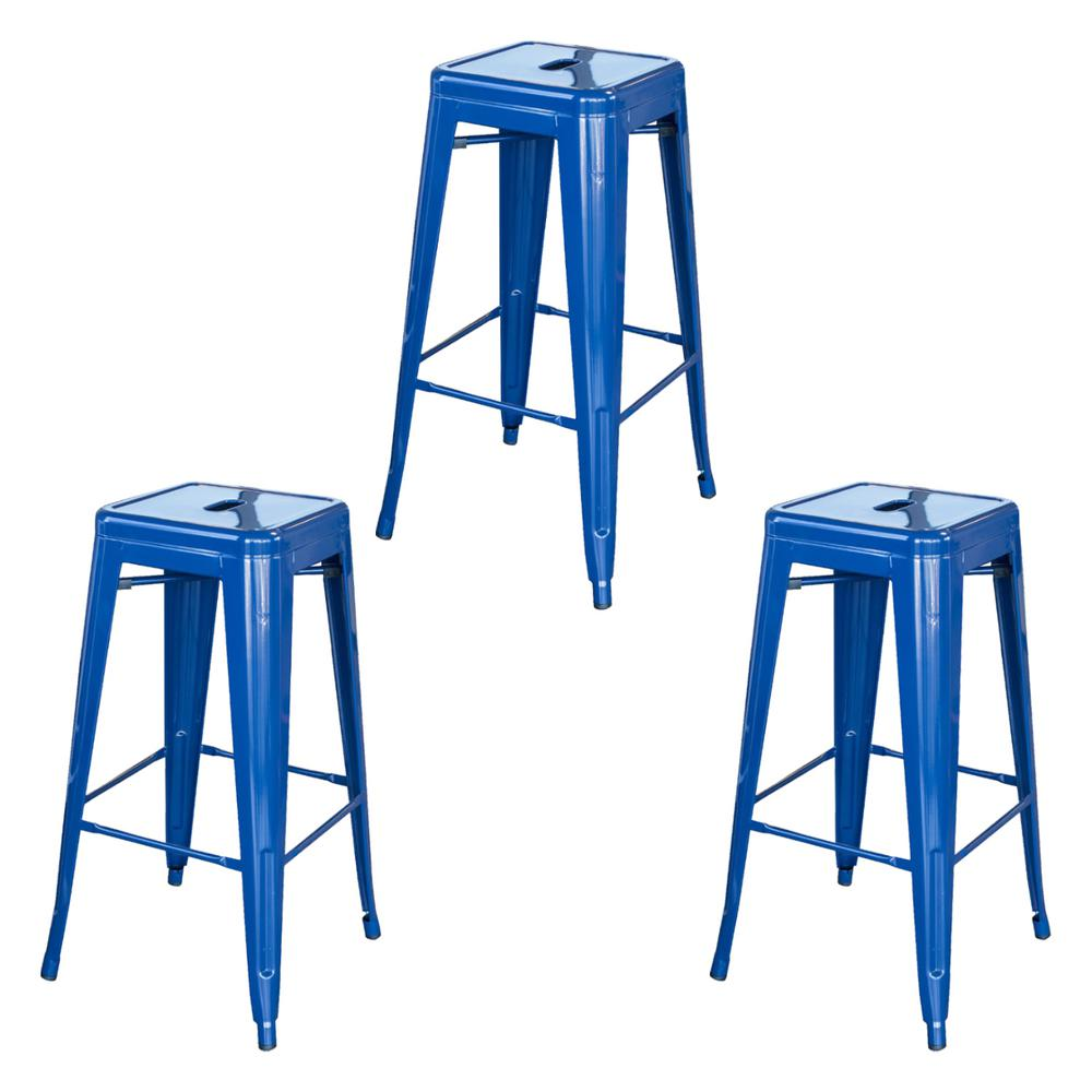 AmeriHome Loft Style 30 in. Blue Stackable Metal Bar Stool (Set of 3) was $149.0 now $102.11 (31.0% off)