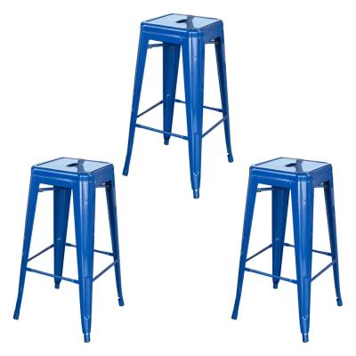 Loft Style 30 in. Blue Stackable Metal Bar Stool (Set of 3)