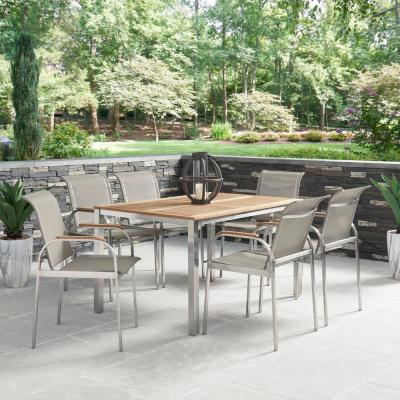 Aruba 7-Piece Steel and Teak Wood Rectangular Outdoor Dining Set with Taupe Fabric Chairs