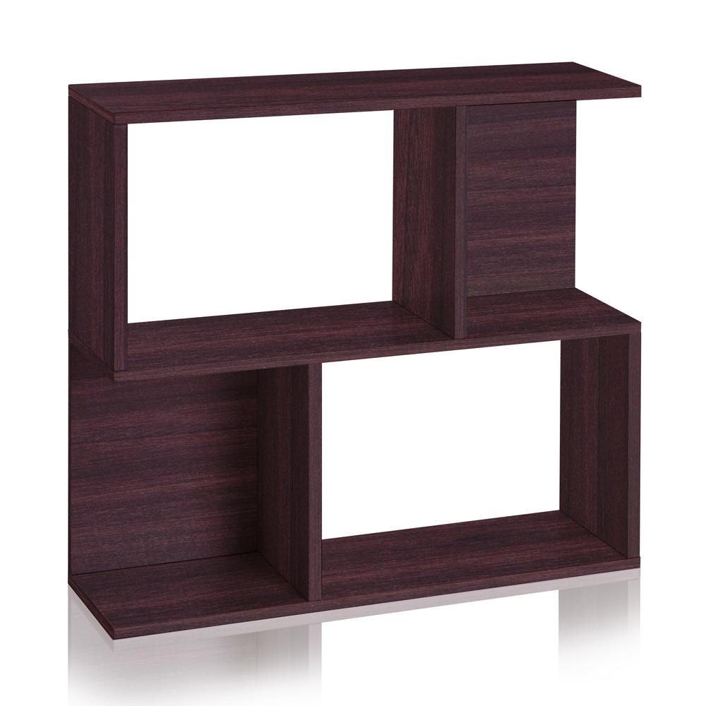 Way Basics Soho 2 Shelf 11.2 x 32.1 x 30.2 zBoard Paperboard Bookcase, Side Table, Storage Shelf in Espresso Wood Grain