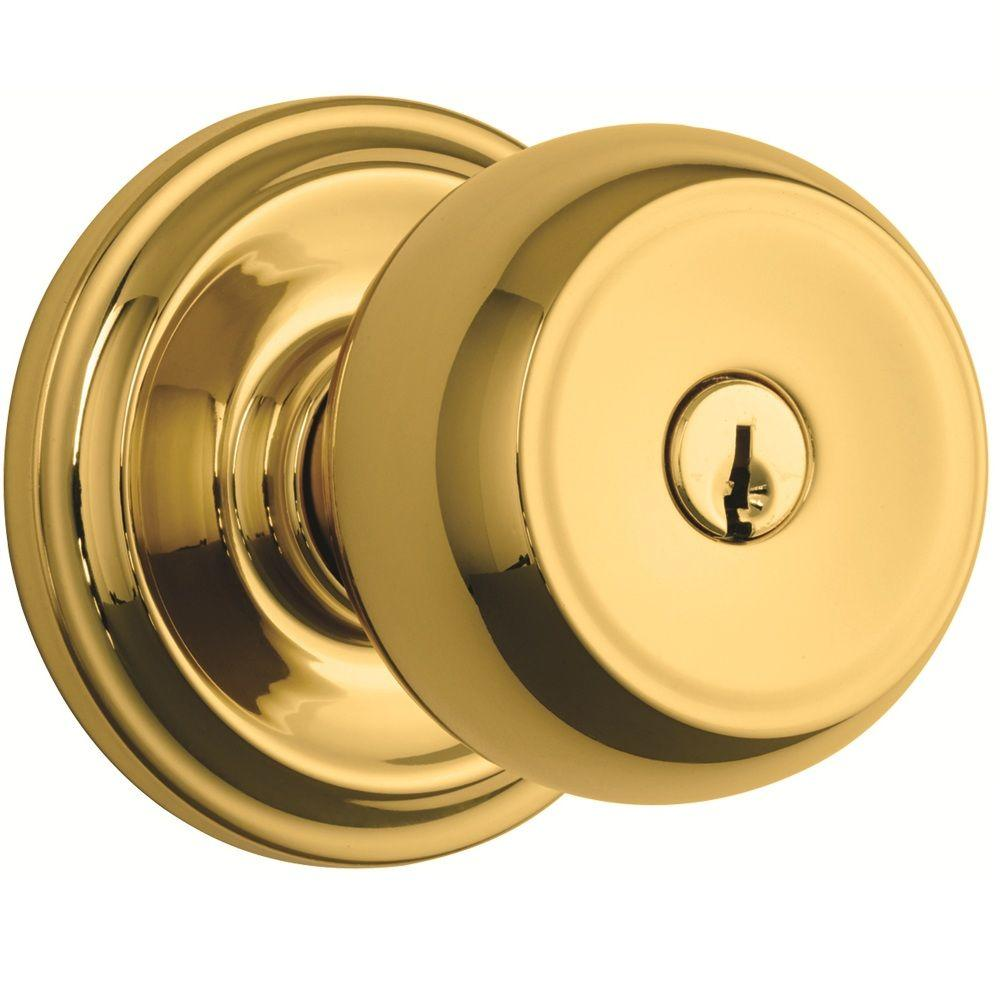 Brinks home security stafford polished brass keyed entry for Exterior door knobs