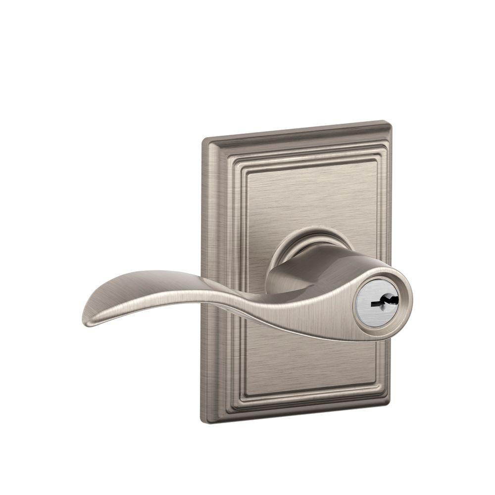 Addison Collection Satin Nickel Accent Keyed Entry Lever