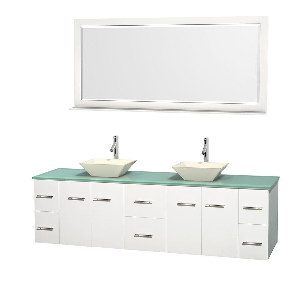 Wyndham Collection Centra 80 in. Double Vanity in White with Glass Vanity Top in Green, Bone Porcelain Sinks and 70 in. Mirror