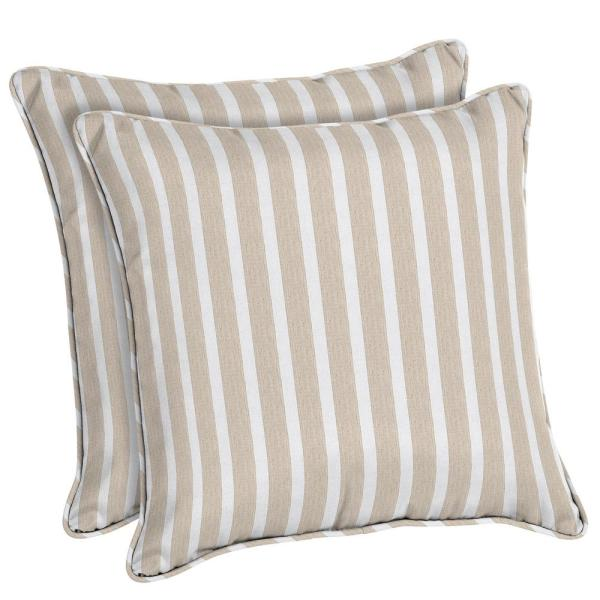 18 In Black And White Stripe Square Outdoor Throw Pillow 2 Pack 7680 02106600 The Home Depot