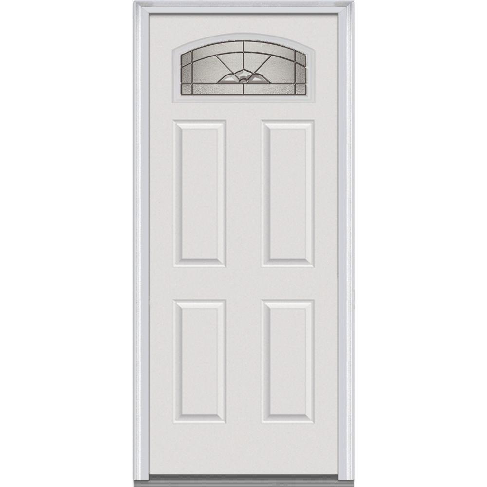 34 in. x 80 in. Master Nouveau Right-Hand 1/4 Lite 4-Panel