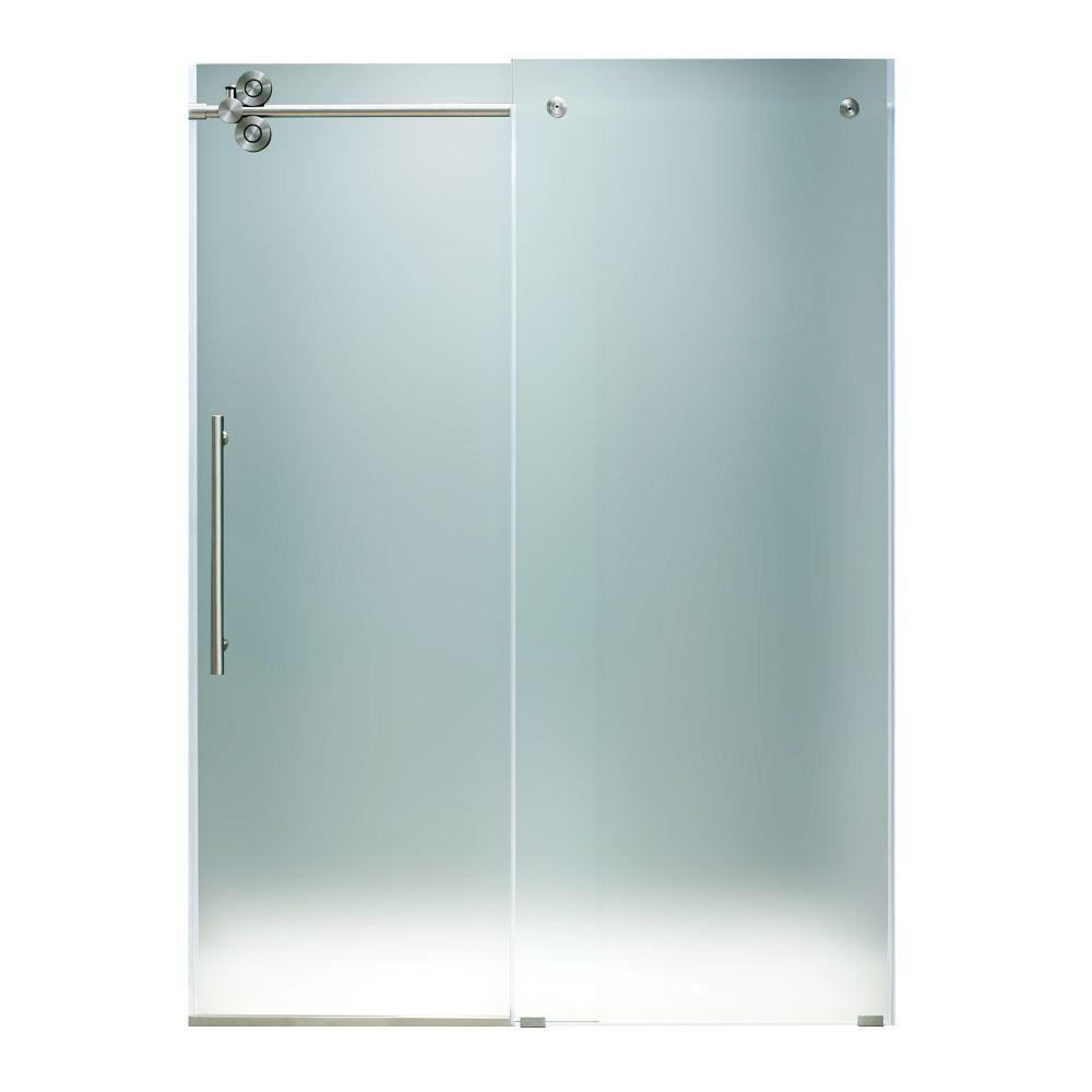 Vigo 48 in. x 74 in. Frameless Shower Door with Stainless Steel and Frosted Glass