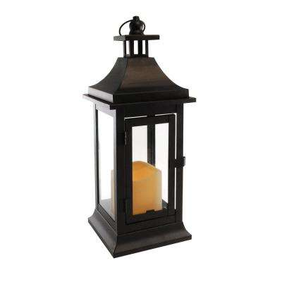 5 in. x 13.25 in. Matte Black Small Metal Classic Lantern with LED Candle