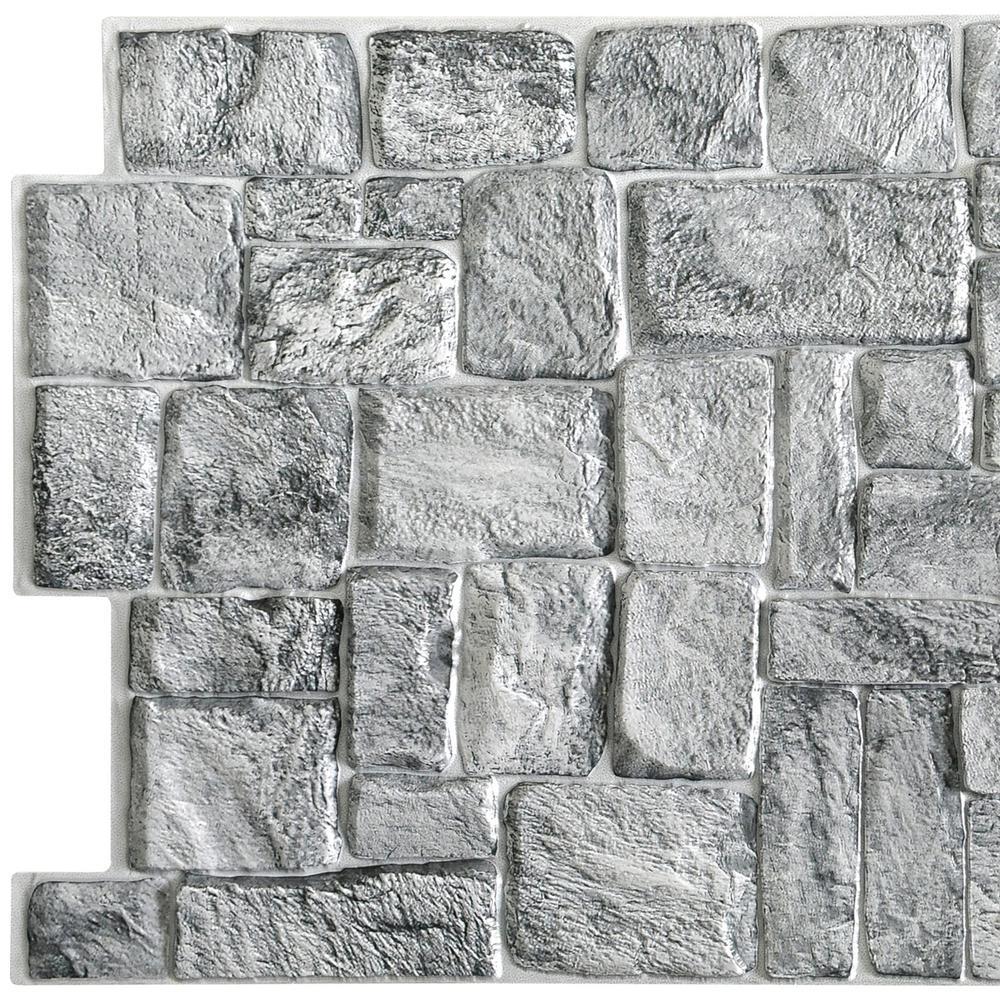 3D Falkirk Retro 10/1000 in. x 39 in. x 19 in. Grey Faux Old Stone PVC Wall Panel