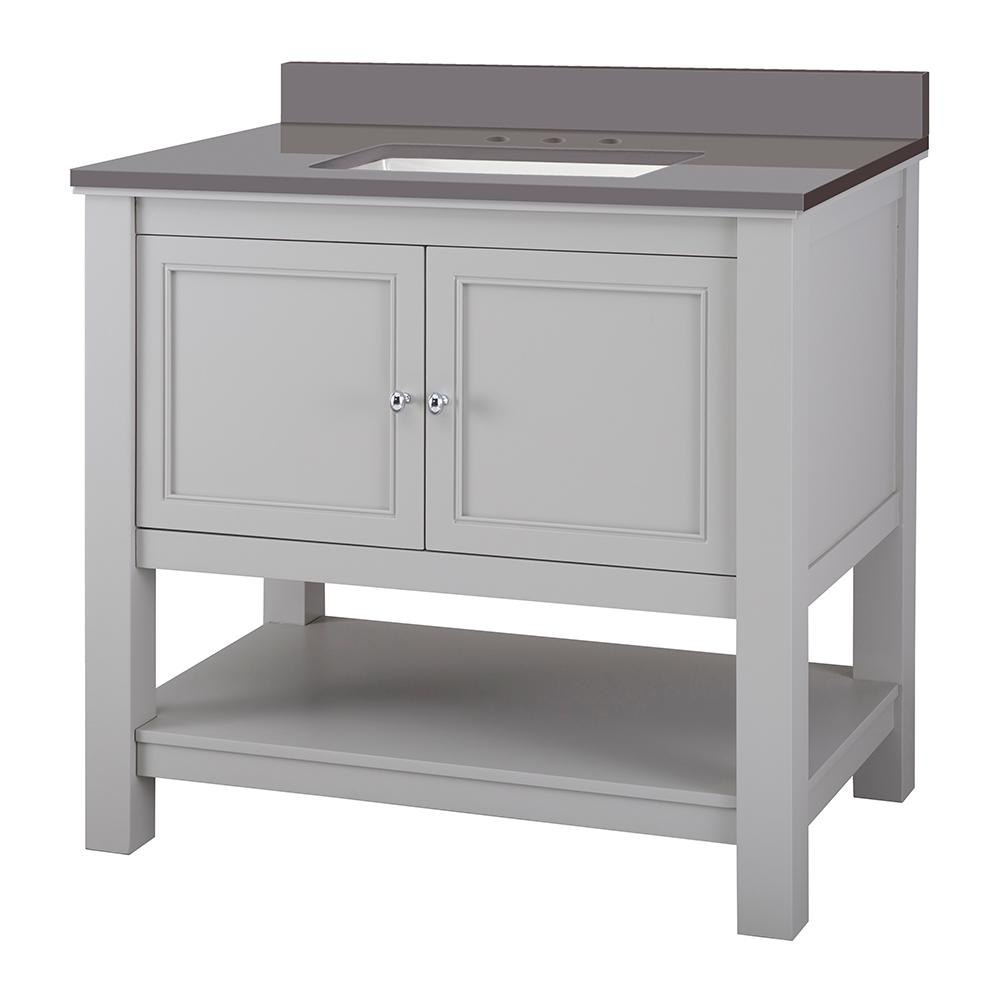 Home Decorators Collection Gazette 37 in. W x 22 in. D Bath Vanity Cabinet in Grey with Engineered Marble Vanity Top in Slate Grey with White Sink