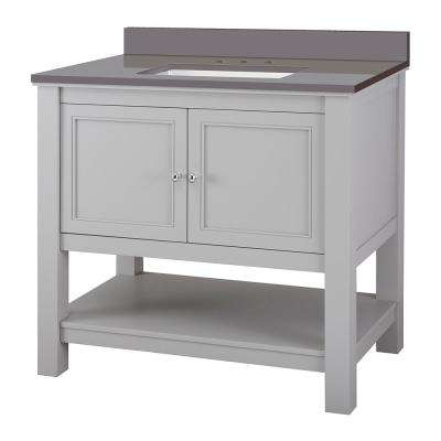 Gazette 37 in. W x 22 in. D Bath Vanity Cabinet in Grey with Engineered Marble Vanity Top in Slate Grey with White Sink
