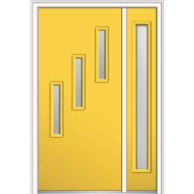 48 in. x 80 in. Davina Frosted Glass Left-Hand 3-Lite Modern Painted Fiberglass Smooth Prehung Front Door with Sidelite