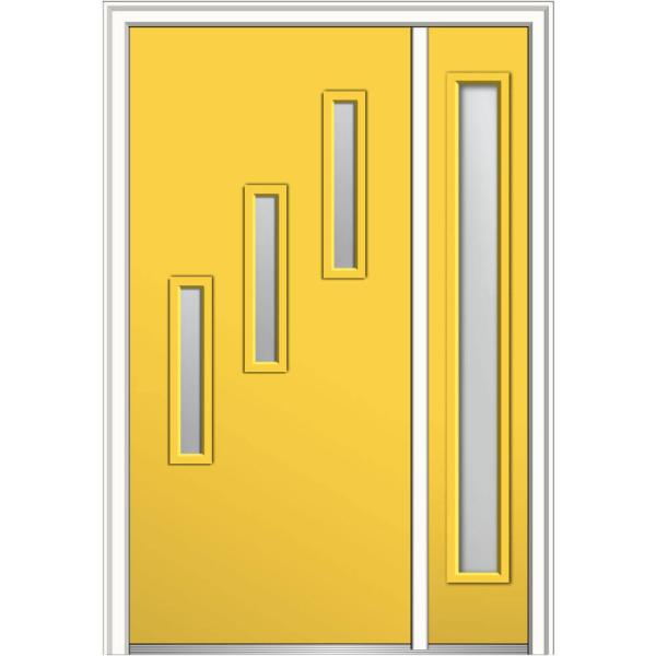 Mmi Door 51 In X 81 75 In Davina Clear Low E Glass Right Hand 3 Lite Modern Painted Steel Prehung Front Door With Sidelite Z0351962r The Home Depot