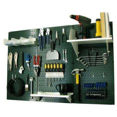 32 in. x 48 in. Metal Pegboard Standard Tool Storage Kit with Green Pegboard and White Peg Accessories