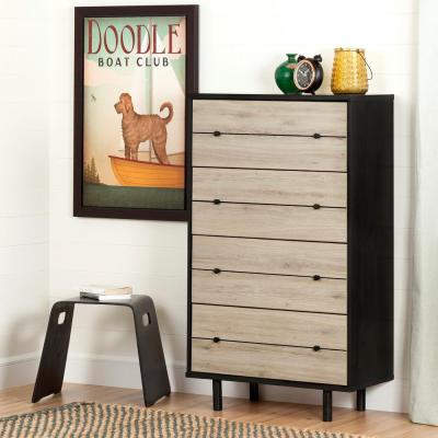 Morice 4-Drawer Ebony and Rustic Oak Chest