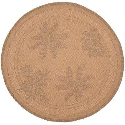 Courtyard Natural/Gold 7 ft. x 7 ft. Indoor/Outdoor Round Area Rug