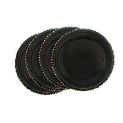 Black Melamine Charger Plates with Gold Beaded (4-Pack)