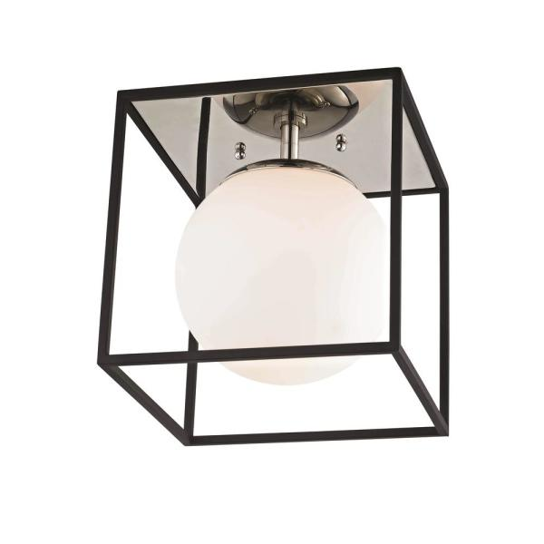 Aira 1-Light Polished Nickel and Black Small Flush Mount with Opal Etched Glass and Black Accents