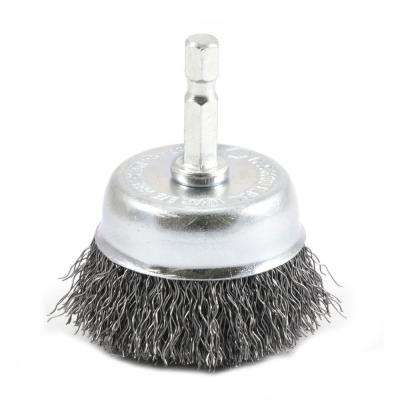 2 in. x 1/4 in. Hex Shank Coarse Crimped Wire Cup Brush