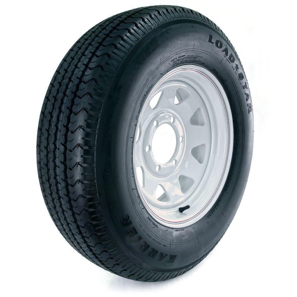Karrier Radial 225/75R-15 Load Range D 6-Hole Custom Spoke Radial Trailer Tire and Wheel Assembly