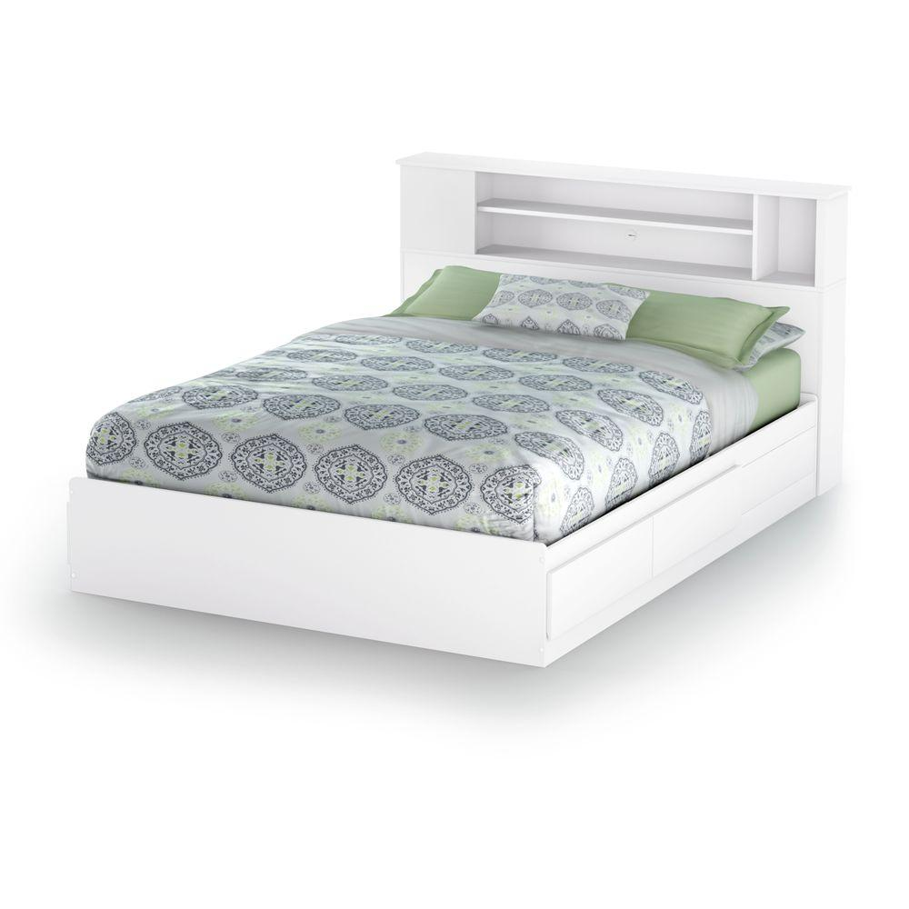 White full storage bed Open Storage South Shore Vito 2drawer Queensize Storage Bed In Pure White Home Depot South Shore Vito 2drawer Queensize Storage Bed In Pure White