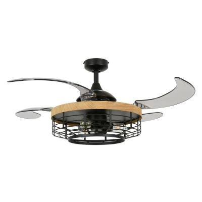 Montclair 48 in. Black with Teak Trim AC Ceiling Fan with Light